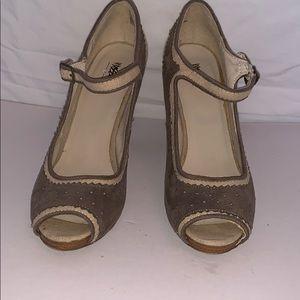 Gray faux suede  and cream linen peep toe heels